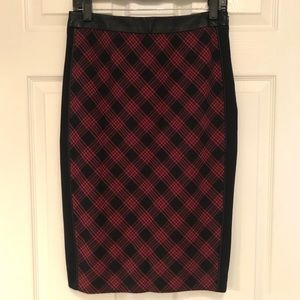 The Limited red black plaid pencil skirt 6